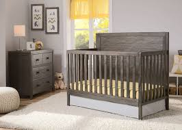 delta convertible crib toddler rail delta children rustic grey 084 cambridge 4 in 1 crib side view