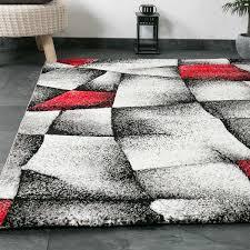 Wohnzimmer Hoch Modern Designer Teppich Wohnzimmer Grau Rot Modern Dicht Gewebt Mit