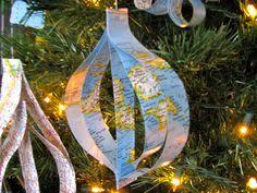 world map ornaments stitch craft kerst