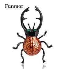funmor small enamel black beetles brooch gold color lifelike fleur