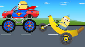 monster truck videos please minion superman monster truck vs banana bike video for kids