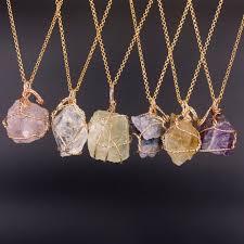 pink crystal pendant necklace images Fashion jewelry natural fluorite lemon quartz necklaces handmade jpg