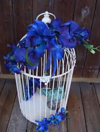 Blue Bird Home Decor Blue Orchid Wedding Bird Cage Card Holder Wire Upcycled Home