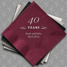 what is 40th wedding anniversary personalized 40th wedding anniversary napkins 25 colors