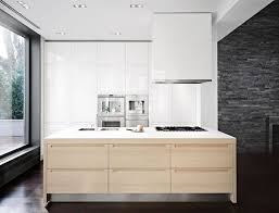 modern kitchen lacquered white island hood with maple kitchen