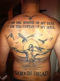 i am the master of my fate poem tattoo on back body