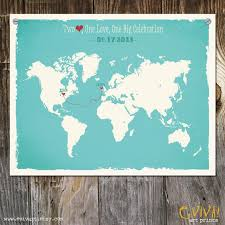 wedding gift map world map custom wedding print destination wedding gift memento