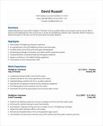 Volunteer Experience Resume Example by Firefighter Resume Template 7 Free Word Pdf Document Download