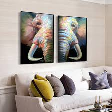 wohnzimmer leinwand abstrakte elefanten malerei leinwandbilder moderne abstrakte