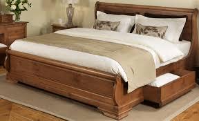Brown Wood Bed Frame Traditional Master Bed Frame Made Of Teak Wood In Brown Varnished