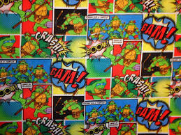 tmnt wrapping paper green black comic mutant turtle cotton