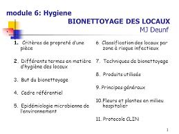 protocole nettoyage bureau module 6 hygiene bionettoyage des locaux mj deunf ppt