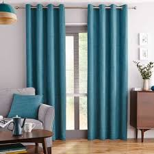 Teal Curtains Vermont Teal Lined Eyelet Curtains Dunelm