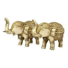 ethnic indian home decor brass elephant pair divyne