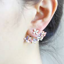 back earrings floral bouquet earrings pink and violet front back earrings ear