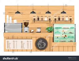 Coffee Shop Floor Plans Wooden Coffee Bar Coffee Shop Counter Stock Vector 366695246