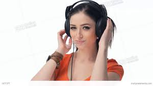 beautiful sexy young beautiful sexy girl listening to music on headphones stock