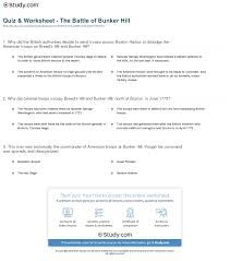 quiz u0026 worksheet the battle of bunker hill study com