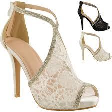 wedding shoes high womens wedding shoes high heels lace diamante bridal peep