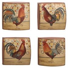 Fashionable Inspiration Rooster Wall Decor Kitchen Metal Plates