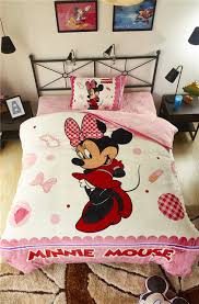 pink mickey minnie mouse 3d printed flannel bedding set