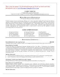 hr resume objective resume sample human resources resume format