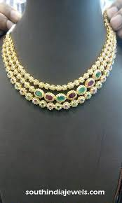 necklace designs with stones images Gold three layer stone necklace design south india jewels jpg