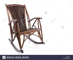 White Wicker Rocking Chair Outdoor Antique Wooden Wicker Rocking Chair Isolated On White Background