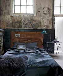 quirky industrial interior design bedroom with iron shelves on the
