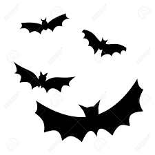 four flying bat silhouettes vector illustration stock photo