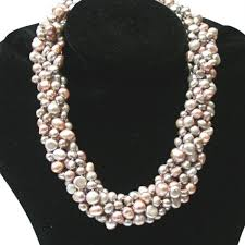 chunky necklace pearl images Striking lilac silver grey pink baroque pearl six strand chunky jpg
