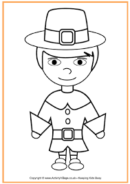 pilgrim boy colouring thanksgiving colouring pages kids
