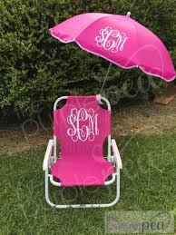 Pink Swinging Baby Chair Monogrammed Kid U0027s Beach Chair W Umbrella Monogrammed
