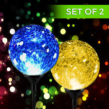 Gazing Balls For Gardens Amazon Com Solar Powered Crackle Glass Ball Color Changing Stake