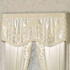 Lisette Sheer Panels by Lisette Pearl Chenille Scalloped Valance Window Treatment