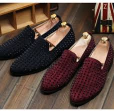 fashion mens punk studded rivet spike suede pointy loafer casual