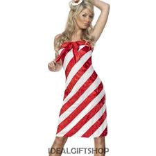ladies candy cane costume christmas fancy dress xmas red white