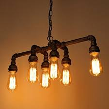 Hanging Light Bulb Pendant 6 Lights Industrial Cage Pipe Pendant Light Litfad Retro Rustic