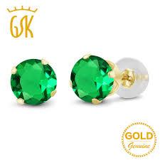 emerald stud earrings gemstoneking gold jewelry 1 54 ct 6mm green nano emerald