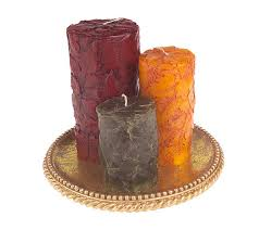 set of 3 embossed leaves pillar candles with tray by bill blass
