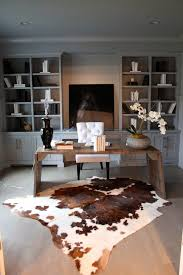 desk rug home office built ins home office contemporary with cowhide rug