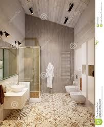 rustic provence loft bathroom shower wc room stock illustration