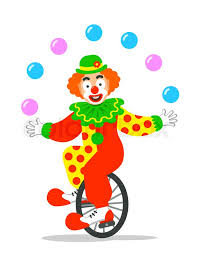 clowns juggling balls circus clown juggling balls on unicycle vector