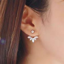 front and back earrings s cubic zirconia silver plated stud fashion earrings ebay