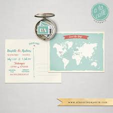 destination wedding bilingual save the date card world map card