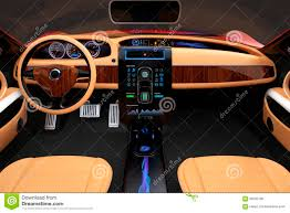 stylish electric car interior with luxury wood pattern decoration