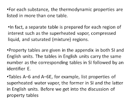 Water Properties Table Lecture 4 Properties Of Pure Substances Pure Substance Ppt