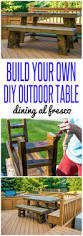 Build Your Own Patio Table Outdoor Dining Table In A Walnut Stain Infarrantly Creative
