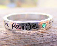 rings with children s names birthstone stacking rings personalized name silver sted