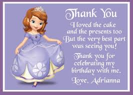 sofia the first birthday thank you card printable